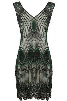 I Love Vintage The Dark Green Vampire Dress - Jurken - Kleding