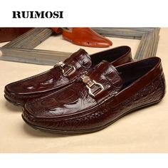 74.70$  Buy here - http://ai6i1.worlditems.win/all/product.php?id=32800368659 - RUIMOSI Alligator Round Toe Flat Heel Casual Man Loafer Shoes Genuine Leather Rhinestone Comfortable Men's Driving Footwear MG37