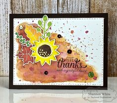 Taylored Expressions - Fall Floral Give Thanks Card (individual) by Shannon White* #florals #flowers #watercolor #ink #stamping #diecutting #handmade #fall #autumn