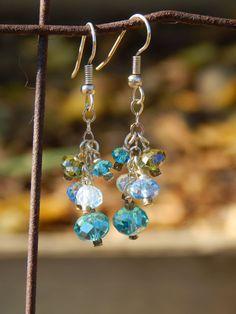 Aquamarine earrings, Blue earrings, Teal earrings, Beaded earrings