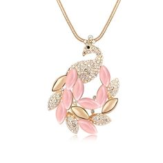 [$7.93] Gold Plated Sweater Chain Beautiful Peacock Opal (Colour: Light Pink)