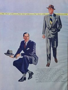 The Bold Look 40 S Print Ad Full Page Color Illustration Drawing By Burniston Esquire Magazine