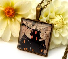 Halloween Necklace in Bronze with haunted house and bats, castle, Halloween decorations, scary, night, ghost, square necklace - pinned by pin4etsy.com