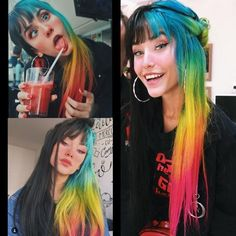 Pin by Devin Watson on Hair ‍❤ in 2019 Pin by Devin Watson on Hair ‍❤ in 2019 Hair Dye Colors, Cool Hair Color, Split Dyed Hair, Half And Half Hair, Arctic Fox Hair Color, Aesthetic Hair, Coloured Hair, Dream Hair, Rainbow Hair