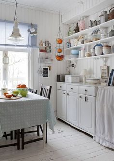 worn wood floors in this cottage kitchen Rustic Kitchen, Vintage Kitchen, Kitchen Dining, Kitchen Decor, Loft House, Cool Kitchens, Retro Kitchens, Country Kitchens, Scandinavian Home