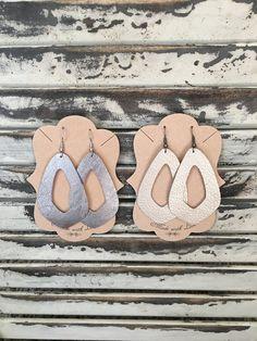 Keyhole Leather Earrings - Handmade Earrings - Faux Leather Earrings - Lightweight Earrings