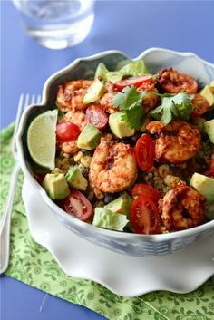 Chipotle Shrimp Salad Bowls Recipe with Avocado, Black Beans & Corn. Too spicy for Jason, not enough flavor for me. Rice was good.