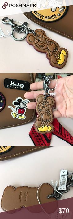 Coach Brown Mickey Mouse Keychain Coach Leather Mickey Mouse Keychain Coach Accessories Key & Card Holders