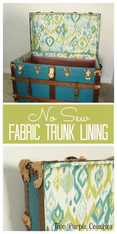 No Sew Fabric Lining for a Vintage Trunk. Follow this simple DIY tutorial to line a trunk with patterned fabric. via Two Purple Couches