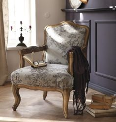 French arm chair with grey toile