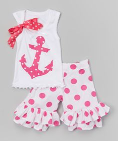 Look at this #zulilyfind! Pink Dot Anchor Tank & Ruffle Shorts - Infant, Toddler & Girls by Beary Basics #zulilyfinds