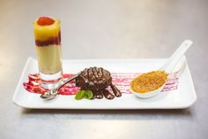 A Beautiful Dessert Trio of Miniature Sweets @ The Grand Luxe Event Boutique of Vanilla Crème Brulee in a Wonton Spoon, Little Organic Chocolate Lava Cake and A White Chocolate & Yoghurt Mousse Mille-Feuille, Lemon Curd, Vanilla Honey & Fresh Raspberries in a Shooter Glass!