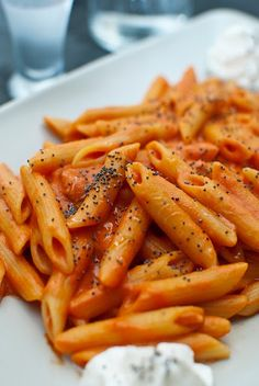 """Penne alla vodka with poppy seeds - I assume the """"3 glasses"""" of vodka is equal to 3 shot glasses :P"""