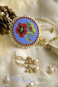 """Set """"Fragments de Rêves"""" (mirror-pendant & earrings)"""