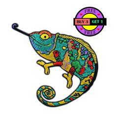 Chameleon Lizard Gekko Salamander Embroidered Iron On Patch Heat Seal Applique Sew On Patches