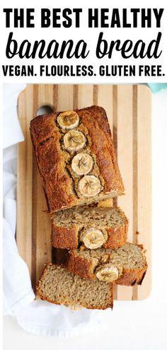 The best, healthy vegan banana bread recipe! Flourless, gluten-free, dairy free, and refined sugar free perfectly moist banana bread from the Nourish & Glow cookbook. // Rhubarbarians #vegan #bananabread #flourless #glutenfree #dairyfree