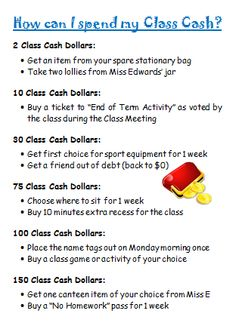 A Place to EduKate - Behaviour Management Classroom Economy Ideas Use with money unit