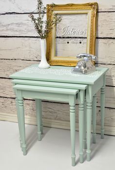 Turned Leg Nesting Tables Makeover | The Interior Frugalista , SeaGlass paint by Dixie Belle
