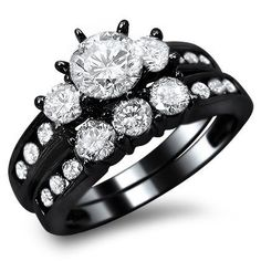 14k Black Gold Round Engagement Ring Bridal Set