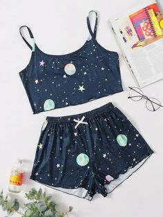 Cute Pajama Sets, Cute Pajamas, Girls Fashion Clothes, Teen Fashion Outfits, Cute Sleepwear, Pajama Outfits, Culottes, Two Piece Outfit, Cute Casual Outfits