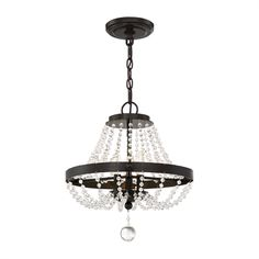 Quoizel LVY1716 Livery 3-Light Crystal Convertible Ceiling Fixture