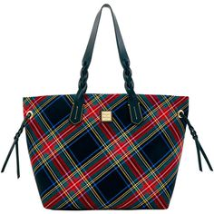 Tartan Shopper ($168) ❤ liked on Polyvore featuring bags, handbags, tote bags, tartan purse, shopper handbag, dooney bourke tote, plaid tote bag and shopping bag