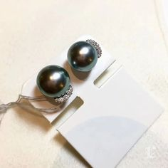 10-11 mm Black Tahitian Pearl Earrings, 18k White Gold w/ Diamond - AAA Pearl Chandelier, Pearl Pendant, Chandelier Earrings, Tahitian Pearl Earrings, Tahitian Black Pearls, Golden South Sea Pearls, Pearl Jewelry, Natural Diamonds, White Gold