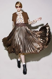 Beautiful pleated gold skirt
