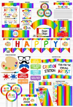 Printable Painting Art Party Birthday Party Package Decor - Kids Art or Paint Party Invitation - FREE thank you card included- Signs Printable Painting Art Party Birthday Party Package Rainbow Birthday Party, Art Birthday, Birthday Party Themes, Birthday Ideas, Art Party Invitations, Diy Birthday Invitations, Party Food Labels, Party Favor Tags, Rainbow Dash