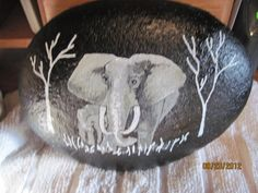 hand painted elephant on rock