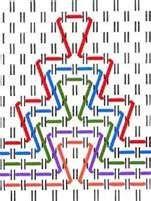 Huck embroidery tai huck weaving -sovellettavissa vohvelikirjontaan. Vohvelikirjontaa voi käyttää pyyhkeiden ja jumppapussien lisäksi tyynynpäällisiin, aamutakkeihin, essuihin jne.