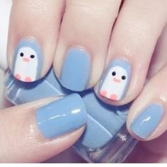 Cute and easy nail designs for kids. Cute and easy nail designs for kids. Cute and easy nail designs for kids to do. Cute and easy nail designs for kids with short nails. Penguin Nail Art, Animal Nail Art, Cute Nail Art, Cute Nails, Pretty Nails, Short Nail Designs, Simple Nail Designs, Kid Nail Designs, Animal Nail Designs