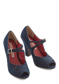 Smart on Your Feet Heel. A lady with your brilliance deserves only the cleverest of footwear, such as these snazzy navy-blue heels by Bait Footwear. #blue #modcloth