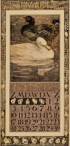 Bird Calendar: March 1907, by Theodoor van Hoytema (1863–1917). Published by Tresling and Co
