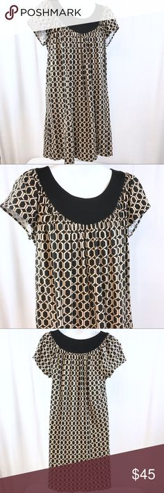Milly OF NEW YORK Tan Khaki Beige Black Knit - MED This knit Millie dress is in fairly good condition. It has been pre-loved. It's a great quick throw on dress that feels like T-shirt material. Milly Dresses