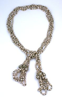 Miriam Haskell Elaborate Baroque Pearl Lariat | From a unique collection of vintage more necklaces at https://www.1stdibs.com/jewelry/necklaces/more-necklaces/