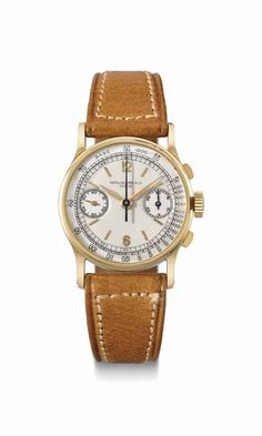 Patek Philippe. A very fine and rare 18K gold chronograph wristwatch with original certificate, invoice and box, manufactured in 1942 #ChristiesWatches
