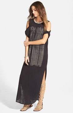 Free People 'Open Road' Screenprint Cold Shoulder Maxi Dress available at #Nordstrom