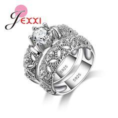 JEXXI 빈티지 더블 반지 여성 925 스털링 실버 우아한 보석 마스크 큰 라운드 반짝 액세서리 도매