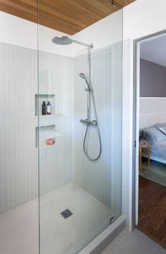 Amy & Tobin's 'Mini-modern' bath; photo by Whit Preston; design by Hello Kitchen