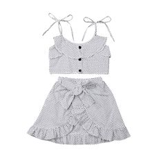 2019 Fashion Summer Kids Baby Girl Floral Wave Point Sling Tops T-shirt Ruffle Bow Skirt Dress Outfits Clothes Set Bow Skirt, Dress Skirt, Turkey Dressing, Girl Sleeves, Summer Kids, Cozy Christmas, White Christmas, Cheap Clothes, Outfit Sets