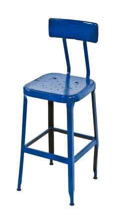royal blue enameled four-legged vintage american industrial pressed and folded steel stationary machinist stool with intact backrest  $250