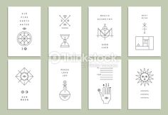 Vector Art : Set of vector trendy cards with geometric icons. Alchemy symbols
