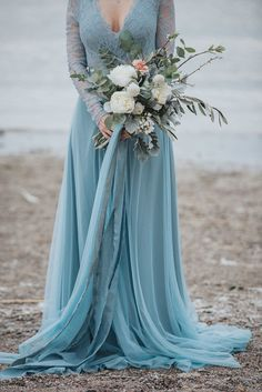 Stormy Scandinavian Wedding Inspiration Featuring a Dramatic Blue Gown - Bridal Musings Blue Wedding Gowns, Colored Wedding Dresses, Modest Wedding Dresses, Ivory Wedding, Boho Wedding Dress, Bridal Gowns, Tulle Wedding, Wedding Bouquet, Scandinavian Wedding
