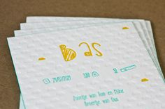 Letterpress printing 3 colors (Yellow, mint and neutral) - Edge coloring Mint - printed by www.letterpressgust.com