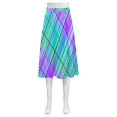 modern plaid 9 Mnemosyne Women's Crepe Skirt(Model D16)