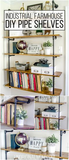 Pipe shelves for an