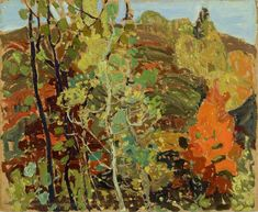 Franklin Carmichael (Orillia, Ontario, 1890 – Toronto Woods in Autumn, Oil on cardboard, 25 x cm. Group Of Seven Artists, Group Of Seven Paintings, Abstract Landscape Painting, Artist Painting, Landscape Paintings, Landscapes, Tom Thomson, Emily Carr, Maurice Denis