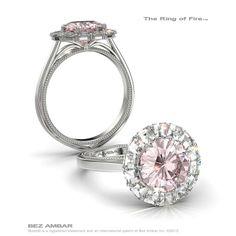 Bez Ambar's Ring of Fire™ for a pink diamond center #ringoffire #blazecutdiamonds #diamondjewelry www.bezambar.com