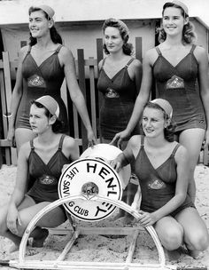 Henley Beach, South Australia, 1946 A group of women surf life-savers from Henley Club, South Australia. From left (standing) Lauriel Butterfield, Rhonda Middlebank, Shirley McGargill (sitting) Pam May, Dolores Amos.